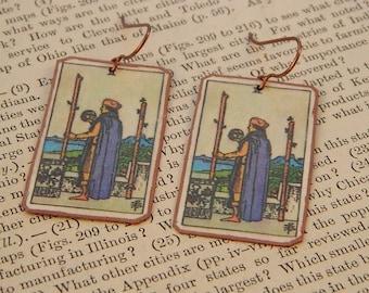 Tarot earrings tarot jewelry Two of Wands mixed media jewelry supernatural jewelry