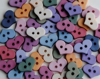 Mini FOLK ART HEARTS - Love Valentine's Day Wedding Dress It Up Craft Buttons