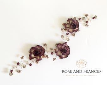 Bridal Hair Vine with Flowers - UNA