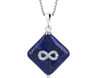 Lapis Lazuli Natural Stone Pendant With Silver Infinity Sign - IJ1-1568