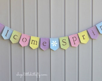 Spring Decor, Welcome Spring Banner, Spring Garland Bunting, Welcome Spring Sign, Easter Rustic Home Decor, Spring Sign, Burlap Banner