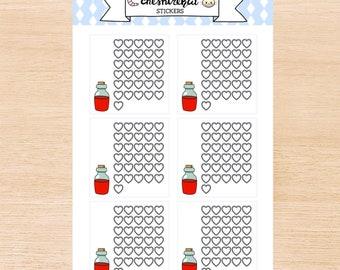 Legend of Zelda Heart Container Habit Tracker Stickers for Planner or Journal