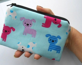 Zipper Pouch Little Padded Coin Purse ECO Friendly NEW Blue Puppies