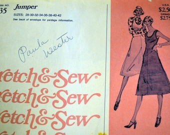 Vintage Sewing Pattern Stretch & Sew 1535 Misses' Jumper  Bust 28-42 inches  Complete Uncut FF