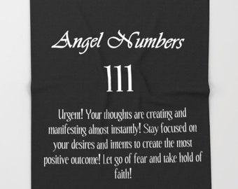 Fleece Blanket, Angel Number 111 Blanket, Black & White Throw Blanket, Angel Numbers Bedspread, Inspirational Blanket, Typography Blanket