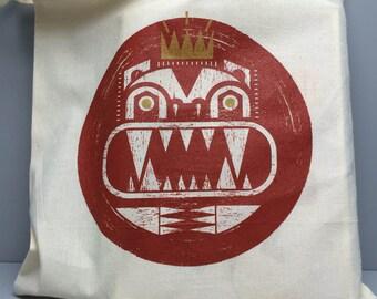 King of Beasts Cotton Tote Bag/2 Colour Screenprint
