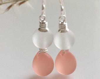 Pink and White Sea Glass Earrings   Beach Glass Earrings   Sterling Silver Earrings
