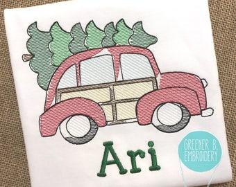 Christmas Shirt / Vintage Car Embroidery / Christmas Tree Shirt / Retro Car Embroidery / Personalized Christmas Shirt / Boy Christmas Shirt