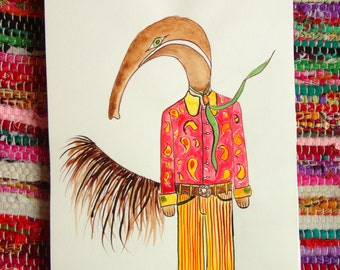 Creature series : GROOVY ANTEATER A4 illustration