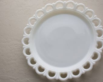 Scalloped Milk Glass Plate