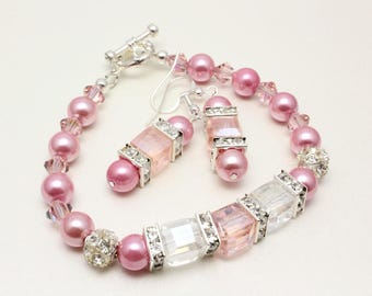 Bracelet and Earrings Set, Pink Crystal and Pearls, Bridal Jewelry, Pink and White, Bridesmaid Jewelry, Cube Crystals, Pink Pearls