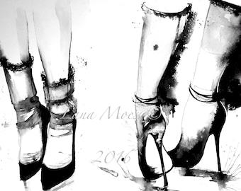 Runway Fashion Art, Fashion Illustration, Fashion Painting, Watercolor by Lana Moes Illustration - Art Print