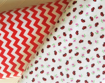 Riley-Blake-Designs-Red Chevron-Small-Marcus-Brothers-Ladybugs-Cotton-Flannel Quilt-Fabric-By-The-Yard-Bundle-Options