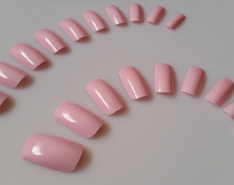 20 Pink Nails - Press on Nails - Glue on Nails - Pink Nails - Medium Long Pink Nails