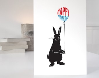 Rabbit Birthday Card, Bunny Birthday card, happy birthday rabbit card, matching wrap available