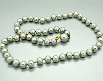 Vintage Silver Pearl Bead Necklace Wedding Jewelry