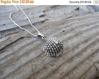 ON SALE Seashell necklace handmade in sterling silver