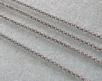 Gunmetal Silver Plated Round Rolo Chain 2mm Lead Free 371