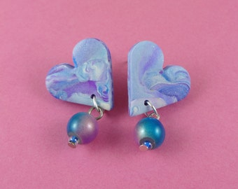 Glittery heart stud earrings - marbled polymer clay in purple and blue, dangly beads, glitter sparkly, Fairy-Kei, space galaxy sky, cute fun