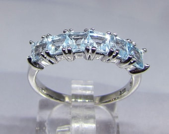 Ring Blue Topaz stones on silver size 54
