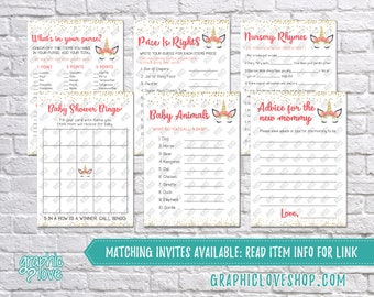 Digital Set of 6, 5x7 Floral Unicorn Baby Girl Shower Games & Advice for Mom Card, Coordinating | PDF File, Instant Download, Ready to Print