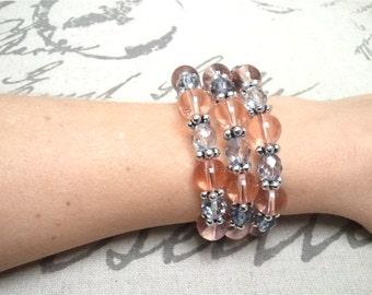 Pink Wrap Bracelet, Pink Memory Wire Bracelet, Pink Coil Bracelet, Pink Gray Beads, Silver Jewelry, Glass Beaded Bracelet, Wire Wrap Jewelry
