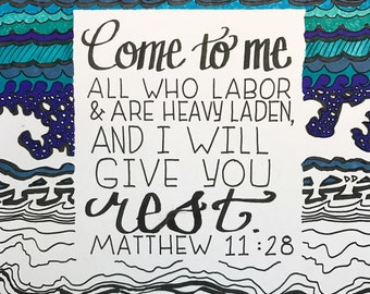 Printable Coloring Page Bible Verse: Abstract illustrated verse, handdrawn, calligraphy, Christian coloring, adult coloring, inspirational