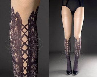 Tattoo Tights,  nude color one size Lace Up print full length closed toe printed tights pantyhose, tattoo socks