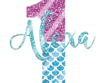 Mermaid Birthday Iron On, Mermaid Glitter Birthday Tshirt Printable, Mermaid Personalized Iron On, DIY Mermaid Party Supplies