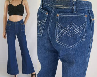 Vintage flared jeans, high waisted, flare bootleg, french 70s vintage, blue denim pants trousers, waist 27.5, small