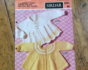 Vintage Sirdar Sunshine Series Baby Matinee Coats pattern in 3 ply  design no. 323