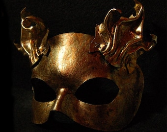 Metal foil leafed leather cat mask, Dionysus