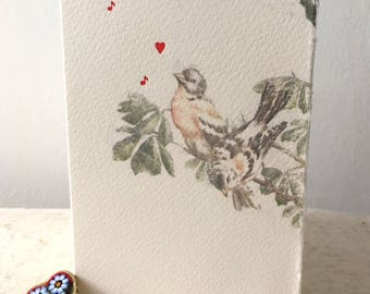 Letterpress Love Birds Card