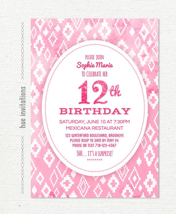 Items similar to pink glitter 12th birthday invitation for girls items similar to pink glitter 12th birthday invitation for girls tribal tween birthday party invite pastel pink watercolor digital file 5x7 jpg pdf 760 filmwisefo Image collections
