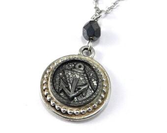 Steampunk Anchor Necklace, Antique Button Necklace, Nautical Sailor Button Pendant, TRAVEL Train Adventure Jewelry