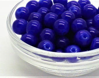Royal blue glass beads;  richly colored, transparent royal blue, round glass beads, 8mm, 12pcs/1.80.