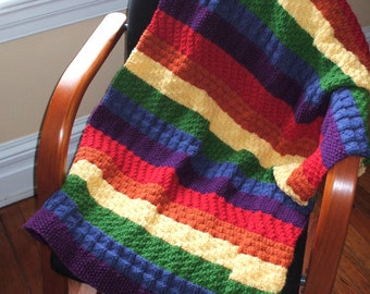 Rainbow blanket for baby or child hand knit in 100% Acrylic