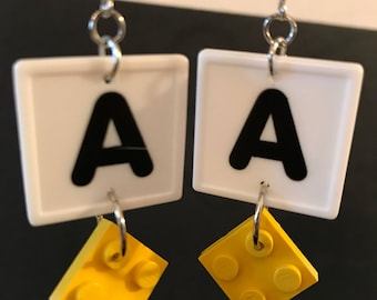 Personalized Handmade Yellow LEGO & White Tile Initial Dangly Earrings