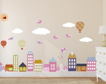 City Wall Decal, Town, Buildings, Planes, Balloon, Nursery Wall Decal, Kids Wall Decal, Baby Wall Decal, REMOVABLE, REUSABLE, FABRIC