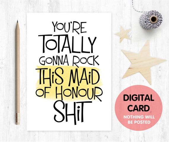 PRINTABLE funny maid of honour card will you be my maid of honour printable maid of honour proposal instant download love paper rainbow