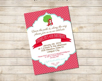 5x7 Customized Printable Invitation - Little Red Riding Hood Party Collection