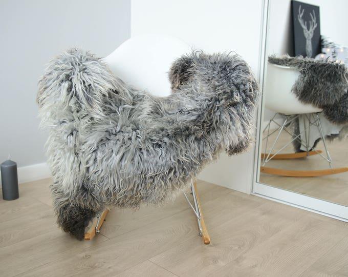 Genuine Rare Gotland Sheepskin Rug - Curly Fur Rug - Natural Sheepskin - Gray Ivory Sheepskin #FEBGOT15