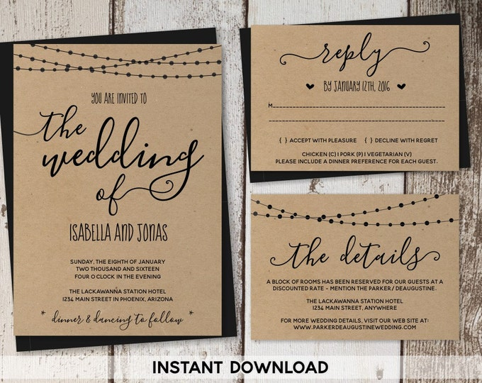 Featured listing image: Wedding Invitation Template - Rustic Printable Set | String Lights, Calligraphy | Kraft Paper | Editable Instant Download Digital File Suite