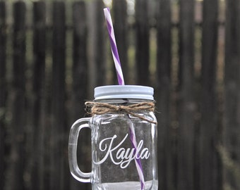 1 Mason Jar Mug Sippy Cups, Personalized, Engraved Mugs