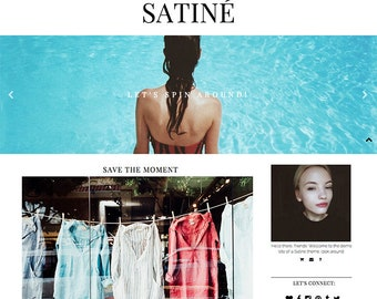 "Blogger Template ""SATINÉ"" // Responsive Photography Premade Blog Theme Blogspot Design"