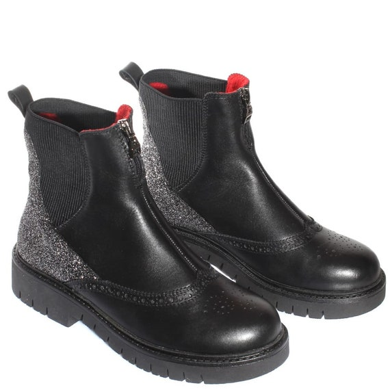 modern Chunky boots ankle Custom platform Urban shoes leather Comfy shoes flat Black heel chelsea city shoes casual TL0007 boots Women R5paYqwSw