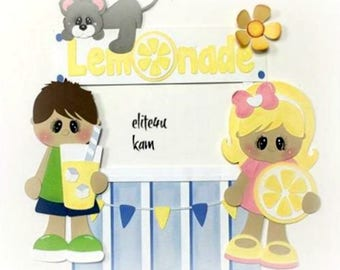 Elite4u Kam Handmade Paper Piecing Lemonade Stand Girl Boy pre-made scrapbook PAGE Album Layout