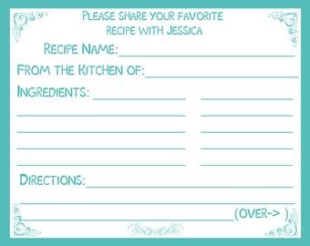 50 Personalized Recipe Cards -  Blue - Turquoise - Aqua