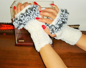 Fingerless  gloves, white gloves. white mittens hand knitted gloves , winter gloves, frilly gloves, arm warmers, knit mittens.