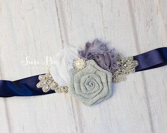 Gray Bridal Sash, Bridesmaid Sash, Bridal Belt, Gray Navy White Bridal Sash, Bridesmaid Belt, Flower Girl Sash, Gray Burlap Sash